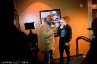 Voss being interviewed.